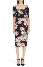Dolce&Gabbana Rose Print Stretch Silk Dress Size 4 US / 38 It