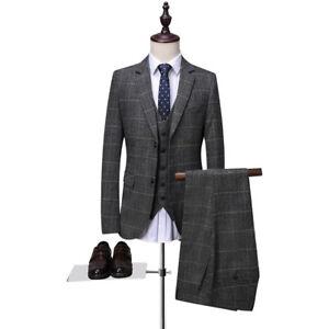 Mode Männer Grau 3 Stück Anzüge Tweed Smoking Herren Anzüge Hochzeitsanzug