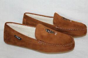NIB Polo Ralph Lauren Men's Bear Suede Moccasin Slippers Chestnut Brown