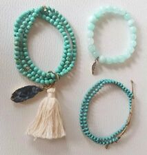 Set of 3! Turquoise Wrap/Stretch Beaded bracelet agate crystal & tassle