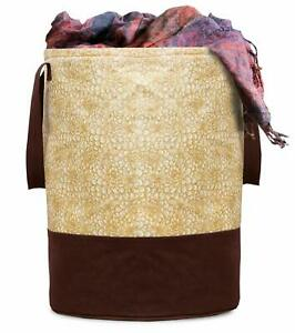45 Ltr Metalic Printed Waterproof Brown Canvas Laundry Bag/ Laundry Basket, 1 Pc