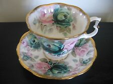 ROYAL ALBERT SUMMER BOUNTY SERIES JADE TEACUP AND SAUCER