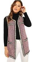 Floerns Women's Beaded Trim Open Front Tweed Vest Coat Pink S, Pink, Size Small