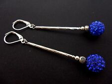 A PAIR LONG DANGLY BLUE SHAMBALLA STYLE  SILVER PLATED LEVERBACK HOOK EARRINGS.