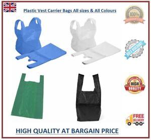 Plastic Vest Carrier Bags Black White Blue Green Shopping Bags All Sizes