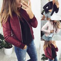 Winter Fall Women Coat Jacket Tops Imitation Leather Overcoat Warm Zip Outwear