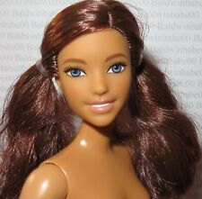 NUDE BARBIE ~ WARM BRUNETTE PIGTAILS CURVY SMILEY FASHIONISTA DOLL FOR OOAK