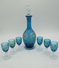service à liqueur verre émaillé Legras enameled glass liquor service
