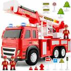Fire Truck Playset – 1:12 Scale Large Size Toys - Realistic Fire Engine, Extendi