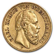 1874-1888 Germany Gold 10 Marks Wuerttemberg Karl Avg Circ
