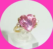 PRETTY 14K YELLOW GOLD PINK HEART RING WITH DIAMOND ACCENT STONES