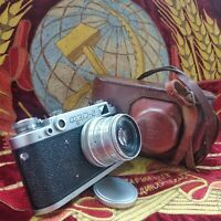 Soviet USSR FED2 35mm camera Leica copy Industar-26 lens M39 mount1950s! √556298