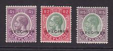 Ceylon. 1927-29. SG 363s-365s. Specimens. Mounted mint.