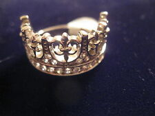 CROWN RING FIT 4 A KING IN STERLING SILVER & ROHADIUM PLATED & CZs IN MANY SIZES