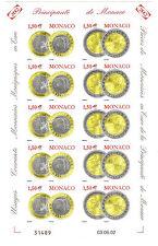 MONACO Non dentelé imperf n° 2358/59 EURO en feuillet 5 p., superbe ** et rare