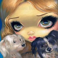 Fairy Face 157 Jasmine Becket-Griffith SIGNED 6x6 PRINT dog puppies dogs faery