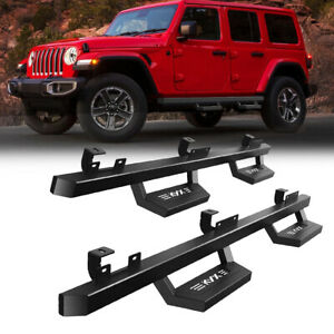 FOR 18-20 JEEP WRANGLER JL 4-DR ROUND TUBING DROP SIDE STEP BAR RUNNING BOARDS