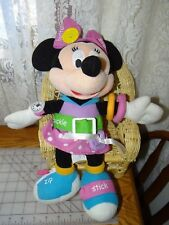 RARE Disney Minnie Mouse Plush Toddler Play & Learn Dress Me Doll Tie Zip Buckle