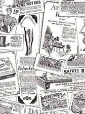 Vintage Advertisement Wallpaper Roll Black & White Newspaper Magazine Print Ads