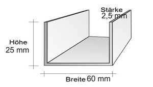 U Profile Aluprofil U Aluminiumprofil 10 St. a 6 Meter Länge =60 Meter U-Profil