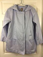 J Jill Ladies Light Blue Hooded Jacket Rain Coat Spring Season Size Medium
