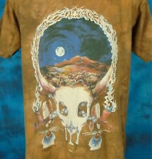 vtg 90s Native American Steer Skull Moon The Mountain T-Shirt L cowboy indian