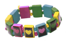 Vibrant- red, blue green & yellow hearts/one size fits all hand bracelet(ZX236)
