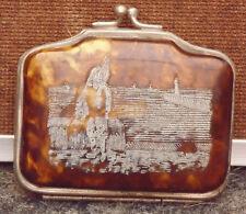 magnifique très ancien petit porte monnaie décors gravé retour de pêche breton