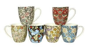 Fine Bone China Set Of 6 William Morris  Mugs