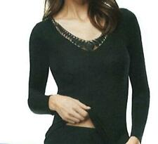 Angora Damen Unterwäsche Unterhemd Lang Arm 30% Seide 15%Angora Größe S-36/38