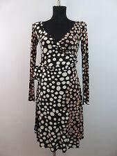 ISSA London Damen Kleid Wickelkleid XS S 34 / 36 Schwarz Polka Dots 100% Seide