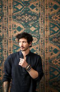 Feature Wall Wallpaper Arabic Turkish Rug Design Teal Mustard Marrakech Persian