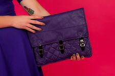 Oversized vintage purple faux leather quilted clutch bag reworked vintage clutch