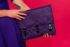 Surdimensionné Vintage Violet en Cuir Synthétique Matelassé Pochette Reworked vintage clutch