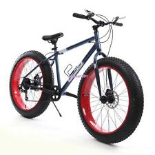 "26"" Red Men's Fat Tire Bicycle Mountain Cruiser Bike 7 Speed Beach Ride Travel"