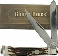 Rough Rider Stag Bone Handles Trapper Pocket Knife RR154 2 Folding Blades