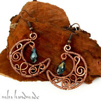 Crescent Moon Copper Wire Wrapped Handmade Earrings by Mba Handmade