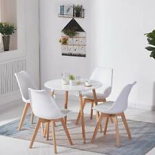 EGGREE Diseño moderno Mesa de comedor redonda blanca y 4 sillas oficina sillón