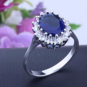 Blue Sapphire Ring Wedding Family Ring Silver Princess Diana Ring Jewelry Gifts