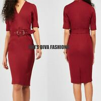 EX N*XT Red Tailored Belted V Neck Office Business Midi Dress Size UK 8-18