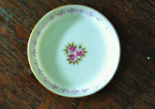 "MINI ANDREA JAPAN DOLL SIZE PLATE 3.5"" BOTTOM LABEL Pretty Pink Floral Pattern"