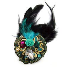Pince à cheveux bibi rétro années folles ruban plumes bleu turquoise or et noire