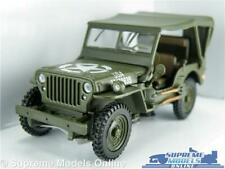 WILLYS JEEP CAR MODEL 1:43 ARMY MILITARY WITH ROOF CARARAMA GREEN USA AMERICA T3