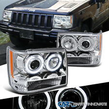 93-96 Jeep Grand Cherokee Replacement Clear Dual Halo Projector Headlights Lamps