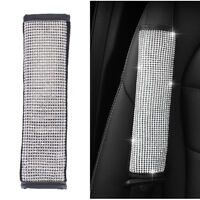 1x Crystal Black Leather Car Seat Belt Safety Seatbelt Shoulder Pads Strap Cover