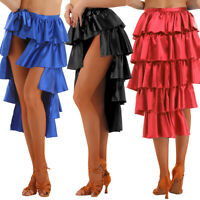 Dance Dress Skirts High-Low Multilayer Latin Samba Rumba Salsa Costume Dancewear