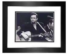Johnny Cash  001  8X10 B/W PHOTO FRAMED TO11X14