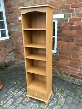 Tall Narrow Pine Effect Bookcase / Shelf Unit with Base Drawer