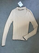 TOPSHOP -BEIGE RIBBED TOP WITH MOCK POLO NECK & CUT OUT NECKLINE +BLACK TRIM-8p