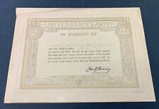 Original Wwi 1918 Named Us Army Kia Memorial Certificate
